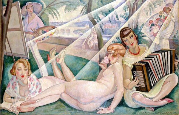 Gerda Wegener. A summer's  day, 1927 (Эйнар Вегенер на заднем плане за мольбертом, обнажённая Лили, Эльна Тегнер с аккордеоном и жена издателя мадам Гийо с книгой).
