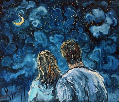 романтичность двое под луной влюбленные картина маслом.jpg