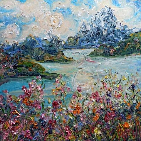 пейзаж горы озеро природа картина маслом.jpg