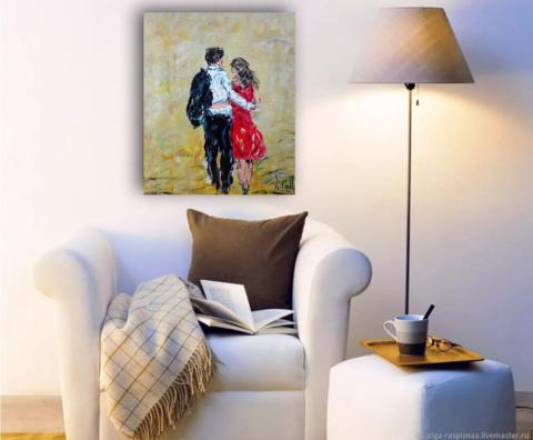 двое влюбленных гуляют картина маслом.png