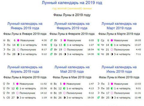 Лунный календарь на март 2019 года - фазы Луны