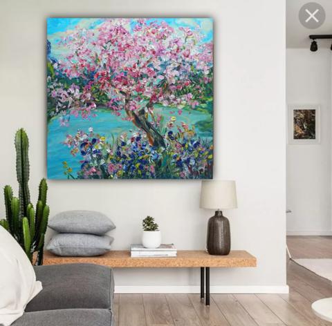 горы озеро цветущее дерево картина.png