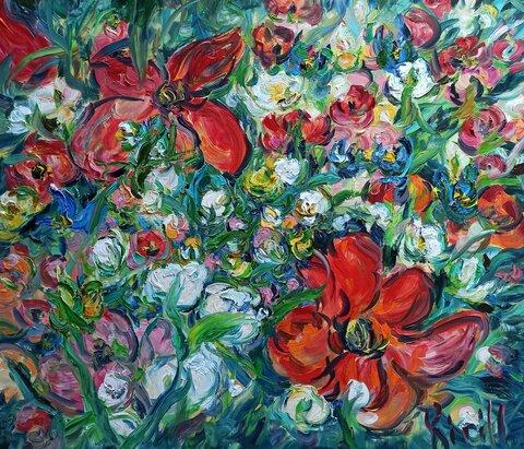 яркие красные цветы на картине маслом.jpg