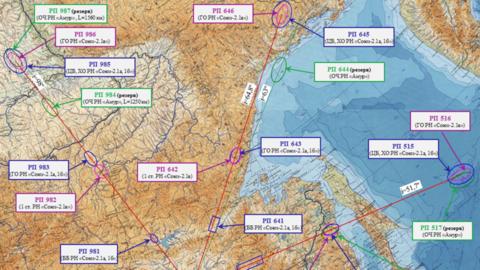 Рисунок 2. Здесь можно увидеть области падения ступеней РН, запущенных с космодрома «Восточный» по разным траекториям.