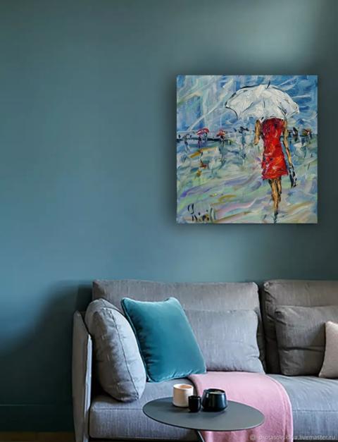 девушка в красном под зонтом картина маслом.png