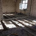 Демонтаж деревянного пола+уборка засыпки