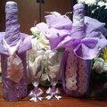 Оформление свадебного шампанского,бакалов и свечей